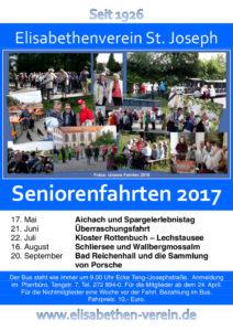 Plakat über die Seniorenfahrten 2017 des Elisabethenverein St. Joseph in München