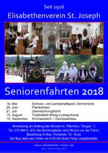 Übersicht aller Seniorenfahrten des Elisabethenvereins München in 2018