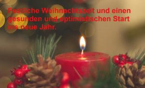 Bild einer weihnachtlichen Kerze mit besten Weihnachtswünschen
